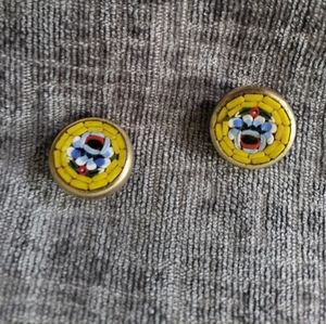 Pretty Vintage Gold Tone Micro Mosaic Earrings